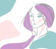 女孩头发紫罗兰 库存照片