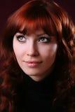 女孩头发红色性感 图库摄影