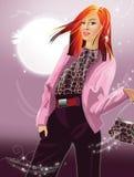 女孩头发红色时髦 免版税图库摄影