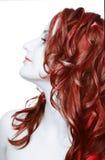 女孩头发红色 库存照片