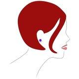 女孩头发配置文件红色 免版税库存照片