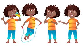 女孩女小学生孩子姿势被设置的传染媒介 投反对票 美国黑人 高中孩子 学校学生 表示,愉快 向量例证