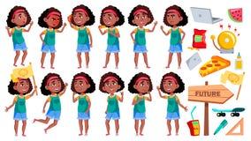 女孩女小学生摆在集合传染媒介 投反对票 美国黑人的学生 对横幅,介绍设计 被隔绝的动画片 库存例证