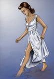 女孩她的脚趾接触水 免版税库存图片