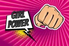 女孩妇女力量拳头流行艺术样式 免版税图库摄影