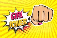 女孩妇女力量拳头流行艺术样式 图库摄影