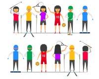 女孩妇女小组友谊体育高尔夫球网球篮球滑雪雪板冰球前面视图传染媒介例证ep10 库存例证