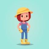 女孩妇女愉快的动画片花匠吉祥人例证 免版税图库摄影