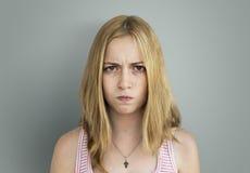 女孩妒嫉被激怒的概念 库存照片
