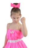 女孩威胁拳头 库存图片