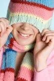 女孩嬉戏的冬天 库存图片