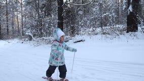 女孩孩子学会滑雪 她在软的新鲜的雪的滑雪慢慢地滑 在冬天森林进来的美好的天 股票视频
