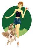 女孩宠物 免版税库存照片