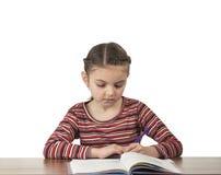 女孩家庭作业准备 免版税库存图片
