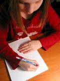 女孩家庭作业研究 图库摄影