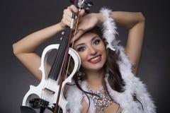 女孩小提琴手 库存照片