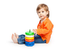 女孩小的玩具 图库摄影