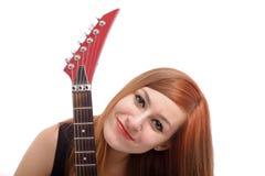 女孩少年吉他的纵向 免版税图库摄影
