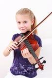 女孩少许使用的小提琴 免版税库存图片