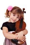 女孩少许小提琴 免版税图库摄影