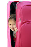 女孩少许手提箱 免版税图库摄影
