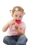 女孩少许棒棒糖 免版税库存图片