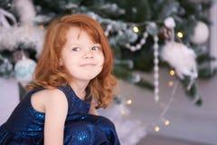 女孩少许纵向 圣诞节内部 水平 免版税库存图片