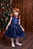 女孩少许纵向 圣诞节内部 蓝色礼服maike 图库摄影