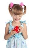 女孩少许胡椒红色甜点 库存照片