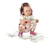 女孩少许货币 免版税库存照片
