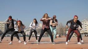 女孩少年Hip Hop舞蹈乘员组 影视素材