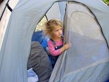 女孩帐篷 库存照片