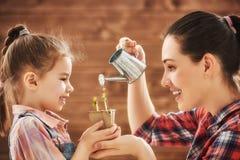 女孩帮助她的母亲 免版税库存图片