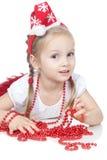 女孩帽子一点俏丽的圣诞老人白色 库存照片