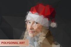 女孩帽子圣诞老人 抽象多角形面孔 库存照片