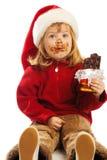 女孩帽子圣诞老人 免版税库存照片