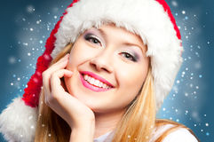女孩帽子圣诞老人 库存照片