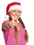 女孩帽子圣诞老人 免版税库存图片