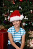 女孩帽子圣诞老人 免版税图库摄影