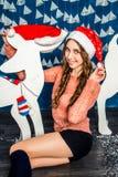 女孩帽子圣诞老人 图库摄影