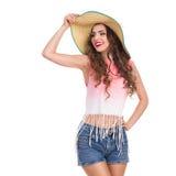 女孩帽子微笑的秸杆 免版税库存照片