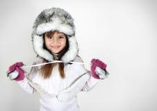 女孩帽子温暖的一点 免版税库存照片
