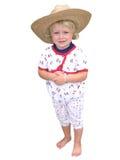 女孩帽子秸杆年轻人 免版税图库摄影
