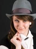 女孩帽子纵向年轻人 免版税库存照片