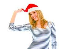 女孩帽子青少年可爱的嬉戏的圣诞老&# 库存图片