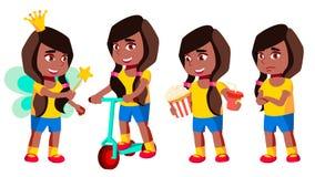 女孩幼儿园孩子姿势被设置的传染媒介 投反对票 美国黑人 幼稚园 年轻正面人 beauvoir 对横幅 皇族释放例证