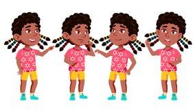 女孩幼儿园孩子姿势被设置的传染媒介 投反对票 美国黑人 活跃,喜悦学龄前儿童使用 对介绍,印刷品 向量例证