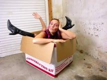 女孩建筑工具箱。 免版税库存照片