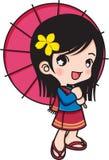 女孩微笑的伞 皇族释放例证