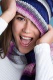 女孩微笑的冬天 库存图片